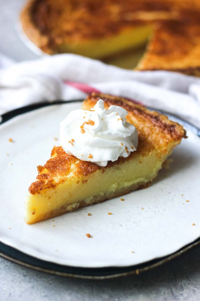 southern buttermilk pie on the plate
