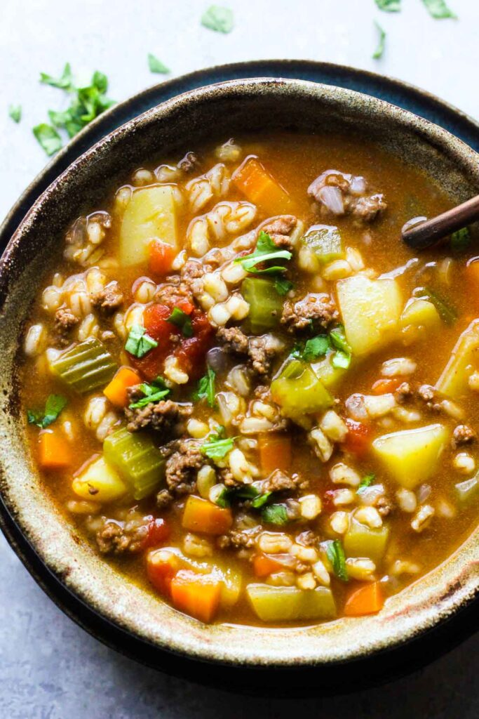 instant pot hamburger soup with barley